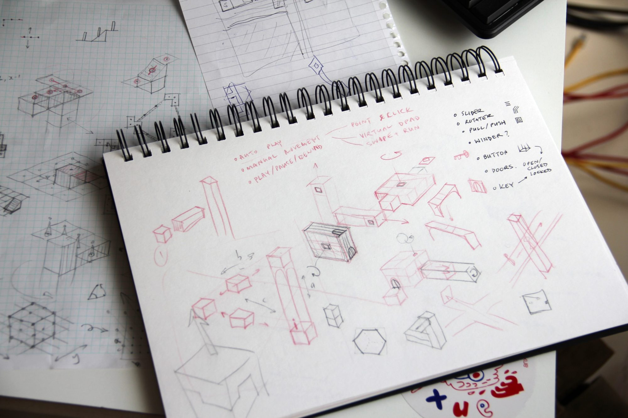 Sketches and notebooks from Ustwo games development team.