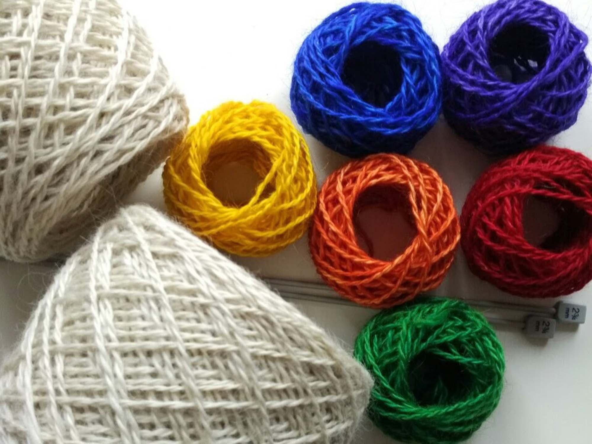 Neutral and colored wool spools